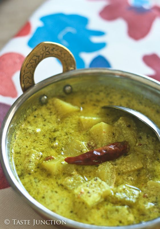 Delicious potato kadhi...simmered in creamy coriander-buttermilk gravy.