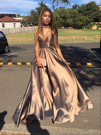 Simple V neck long prom dress , evening dresses G060