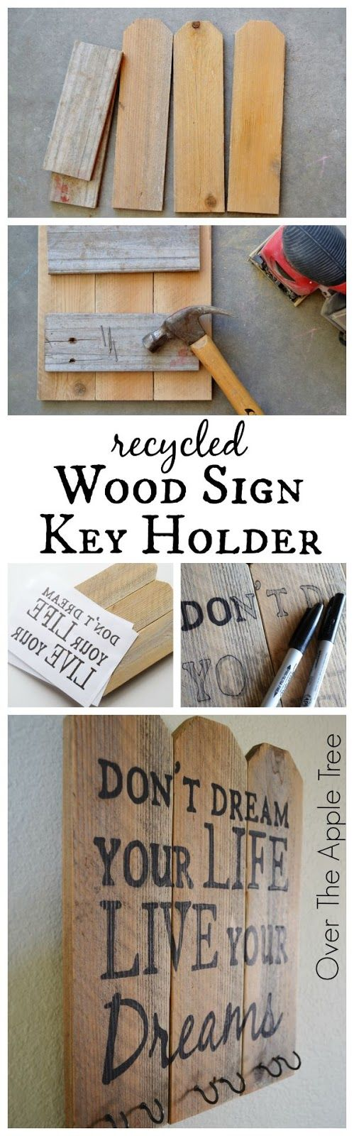 Recycled Wood Sign Key Holder- Over The Apple Tree