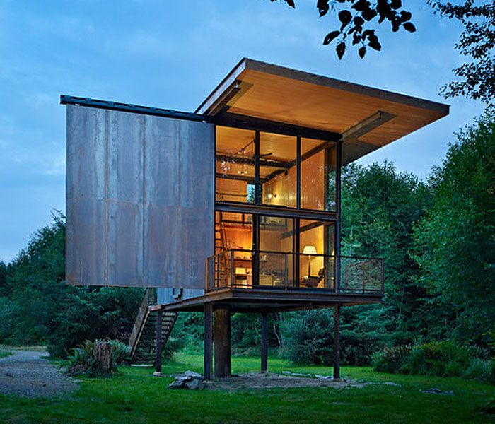 compact prefab steel country cabin olympic peninsula washington - Prefab Modern Cabin