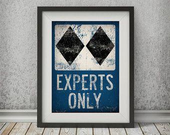 EXPERTS ONLY Black Diamond Ski Snowboard Sign by nativevermont