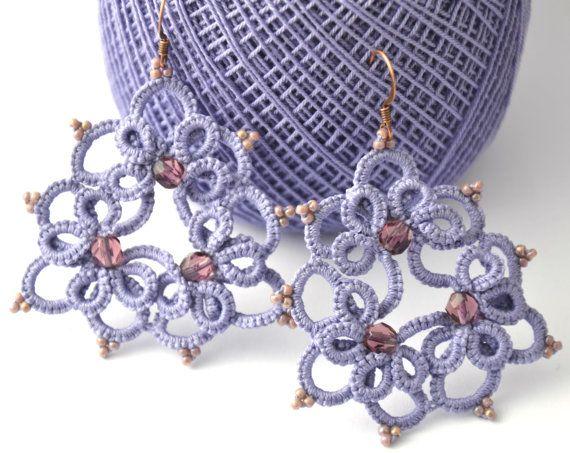 Orecchini pizzo chiacchierino viola perle от MariluCrochet на Etsy