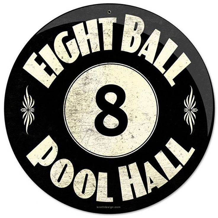 "Eight Ball Pool Hall Round Metal Sign | Vintage Billiards Signs | <a href="""" rel=""nofollow"" target=""_blank""></a> Cool pool decor for your game room! Put this stylish 8 Ball Pool Hall Tin Sign over your pool table and watch it distract your friends with its beautiful powder-coated finish and elegant design. Made with all-American steel, it's as durable as it is stylish. A can't-miss for billiards players of all stripes!"