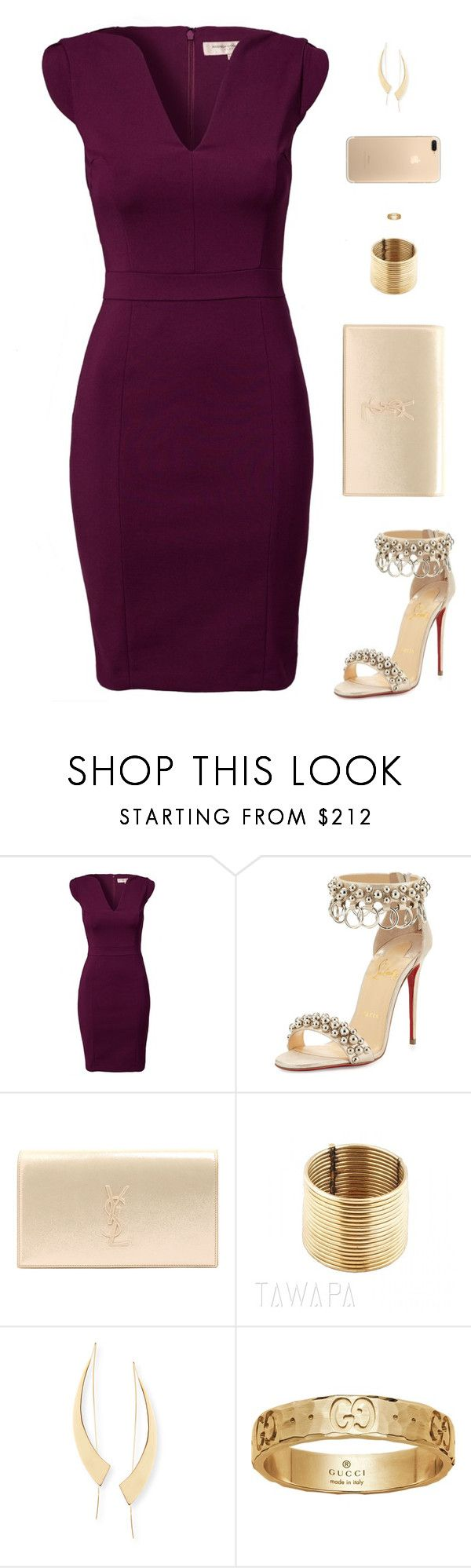 """Sin título #4565"" by mdmsb on Polyvore featuring moda, French Connection, Christian Louboutin, Yves Saint Laurent, Lana y Gucci"
