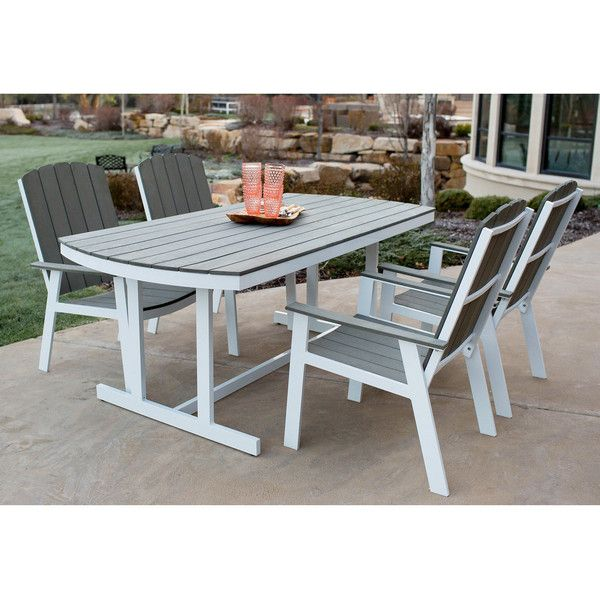 Pier 1 Imports Coastal White & Gray Five Piece Dining Set (8 240 SEK) ❤ liked on Polyvore featuring home, outdoors, patio furniture, outdoor patio sets and white