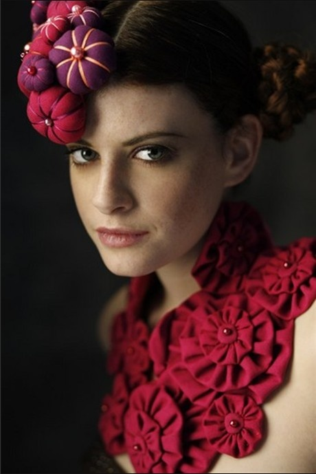 Red fabric yo yo necklace and dimensional headpiece - handmade fashion & textiles