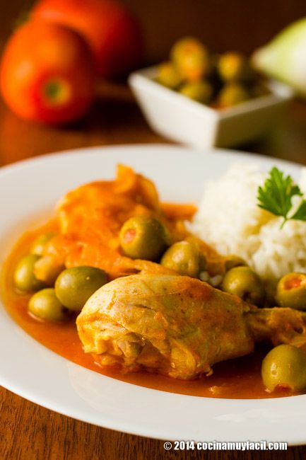 Recipe for chicken in olives sauce. With photographs, tips and suggestions for tasting. Mexican Recipes