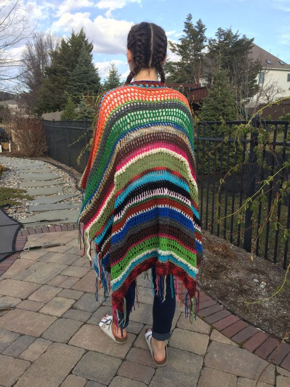 Crocheted Women's Bohemian Poncho Boho Poncho Festival