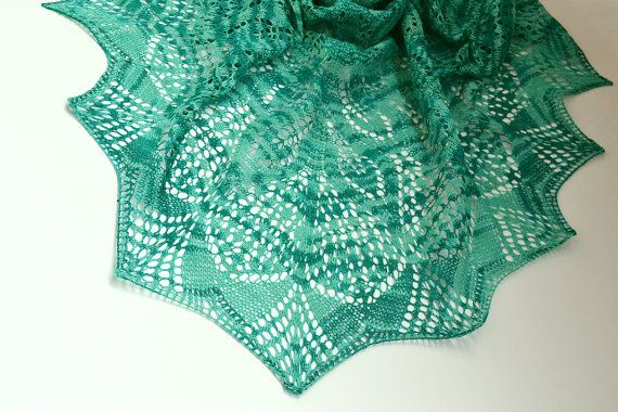 Sea color Hand knitted shawl wedding bridal lovely by DosiakStyle