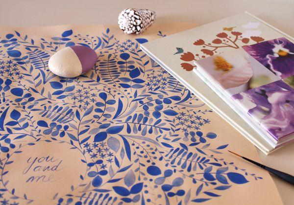 giochi di carta: Illustrazione botanica blu ● Botanical blue illustration