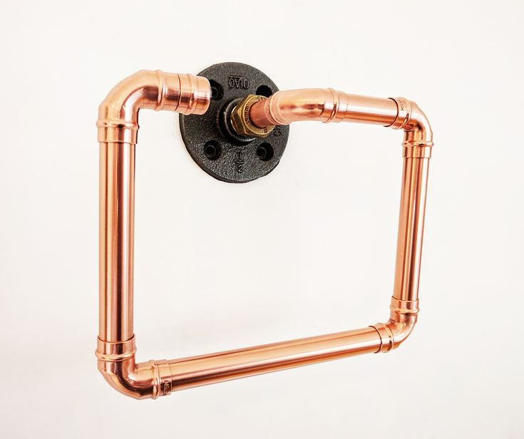 Copper And Black Iron Towel Holder