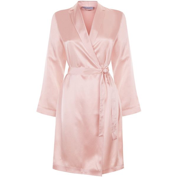 La Perla Silk Silk Satin Short Robe (£175) ❤ liked on Polyvore featuring intimates, robes, robe, pink, silk bathrobe, pink dressing gown, silk satin robe, pink waist belt and short bath robe