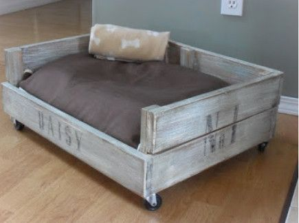small pet beds - crate style pet bed on castors - Home Frosting via Atticmag