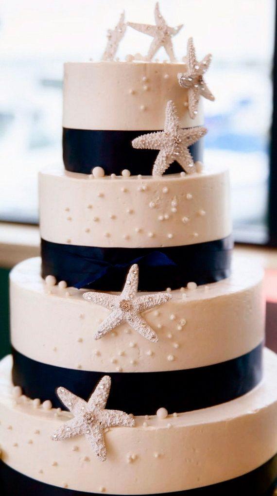 Beach Wedding Cake Decoration - 3 Starfish with Swarovski Crystals - beach wedding decoration, starfish decoration, beach wedding cake.Saved by Chrissy Kapp Blair Pinterest.com