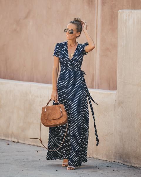 3bfe899f6647b Cara Polka Dot Wrap Maxi Dress in 2019