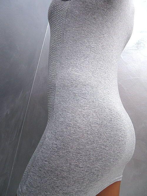 Neu Unique Stretch Best Quality Damen Kleid Strass Sexy Fit Q53 Shirt Dress L/XL