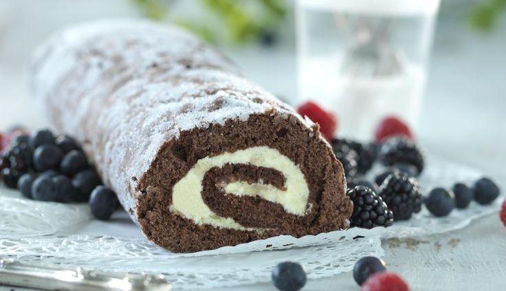 Rulltårta med choklad och passionsfrukt