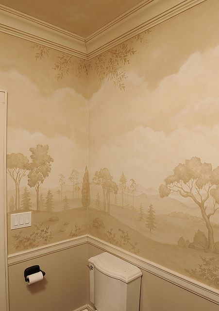 Mural bath using stencils. Beautiful wall stencils by Cutting Edge Stencils. #stencils #CuttingEdgeStencils #bathroom