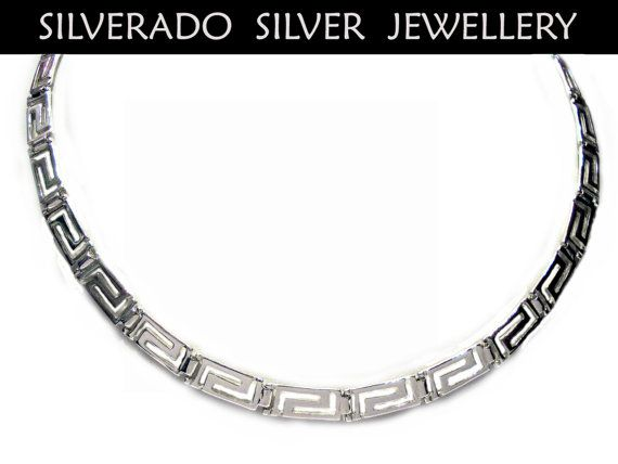 Sterling Silver 925 Ancient Greek Eternity Key Meander Necklace 45 cm 18 inches on Etsy, 90,00€