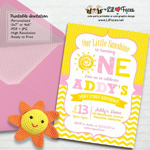 You are my Sunshine Birthday invitation - Printable DIY Invitation - Personalized Invite card DIY party printables will save you time and money while making your planning a snap!