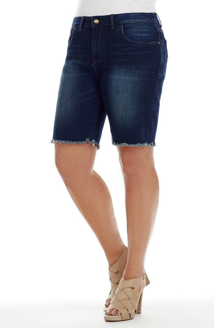 Frayed Hemline Short - indigo -   Style No: SK8077 Summer is all about fun! This wide skirt has a thin self fabric waistband that fastens at the back with an invisible zip. The length of this skirt from the top of the waist band to hemline is 80 cm. #dreamdiva #dreamdivafiles #fashion #plussize