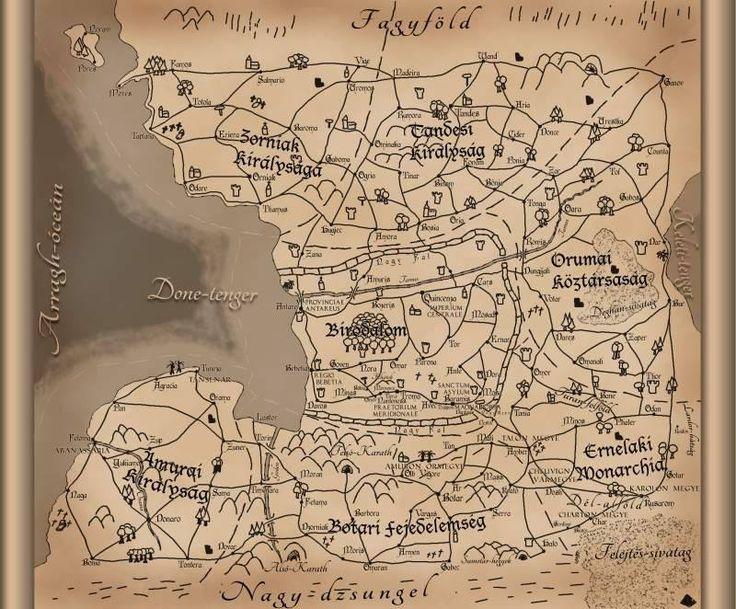 Egy másik korábbi térképvéltozat A holdsarló fénye világának ábrázolásához