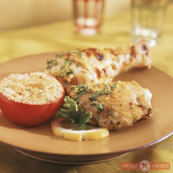 Tárkonyos, bazsalikomos sült csirkecomb