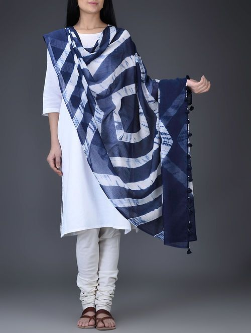 Buy Blue-White Shibori-Dyed Cotton Dupatta with Tassels Online at Jaypore.com