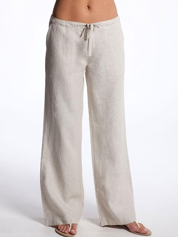 Drawstring White Linen Pants for Women by LittleLilbienen on Etsy, $45.00