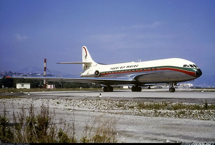 Royal Air Maroc Sud Aviation SE-210 Caravelle III CN-CCX taxiing out for a departure from Nice-Côte d'Azur, July 1964. (Photo: Spotnap)