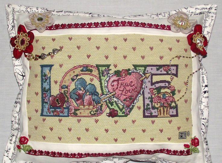 Handmade Shabby Chic Pillows : Handmade shabby chic, Valentine, Love embellished decorative pillow / cushion decorative ...