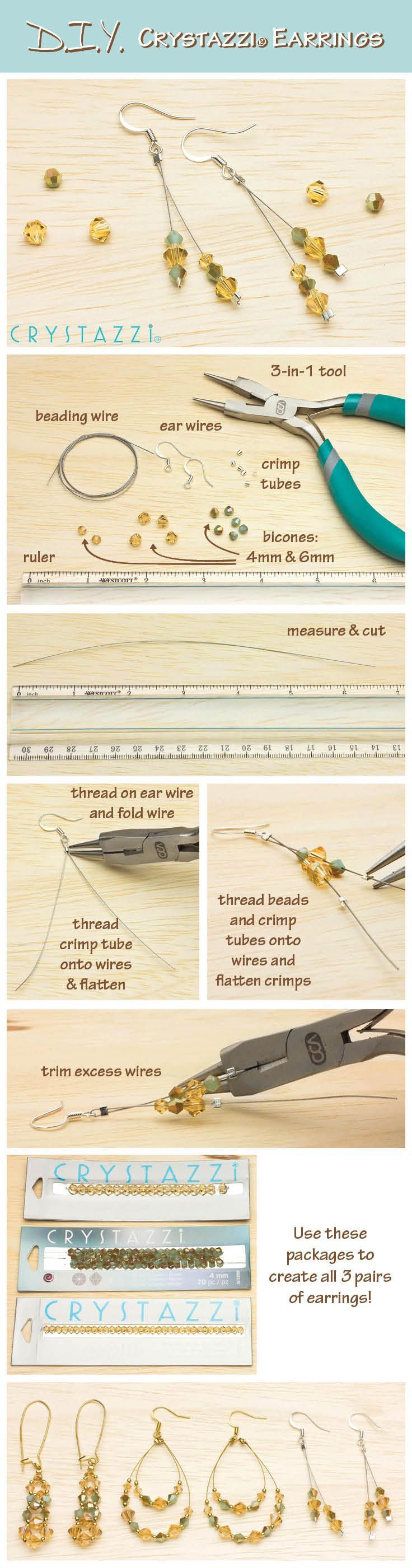 Crystazzi Earrings DIY Crystal Jewelry, DIY Crystal Jewelry – create earrings in three styles to coordinate with any outfit.