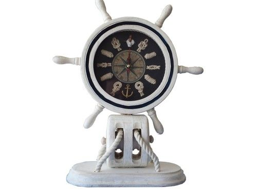 "Wooden Whitewashed Ship Wheel Mantel Knot Clock 13"""