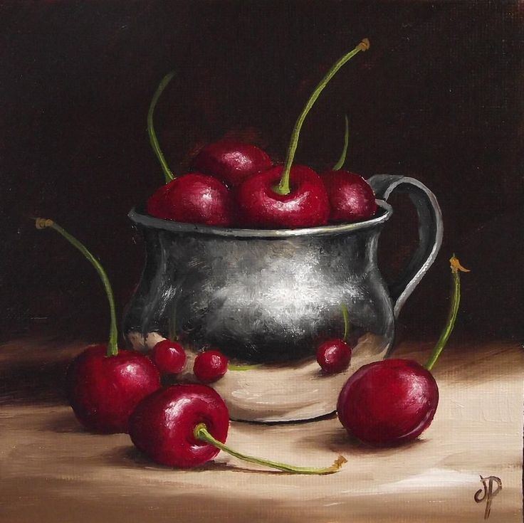 Silver Cup with Cherries, J Palmer Daily painting Original oil still life Art