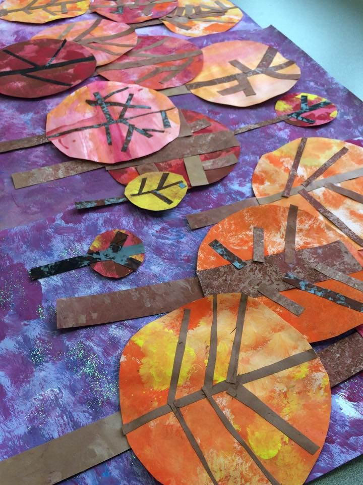 Great idea for Gelli printed papers in the classroom! From Painted Paper I have about 100 of these fall trees. #fallart If you want to see what we are creating during the day follow us http://instagram.com/paintedpaperart on Instagram.