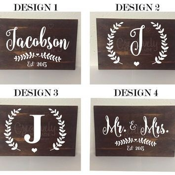 last name sign family name sign established wood sign mr and mrs - Custom Signs For Home Decor