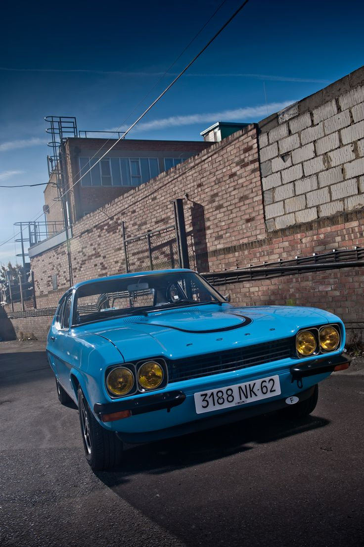 This Rare 1970 Ford Capri RS 2600 Coupe with a V/6 2.6 litre engine was a homologation special and so only a round fifty were made. Built in England. v@e