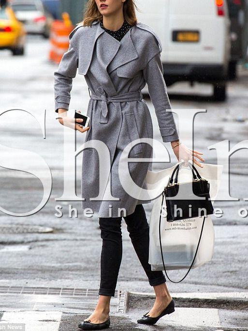 Shop Grey Pockets Belt Coat online. SheIn offers Grey Pockets Belt Coat & more to fit your fashionable needs.