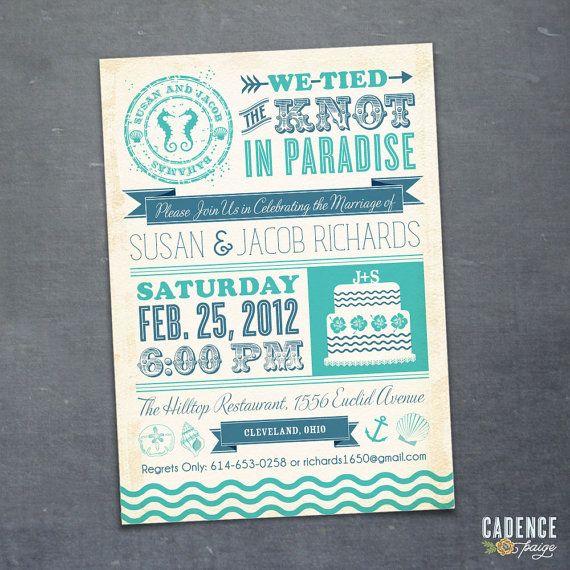 Destination Wedding Reception Invitation  by CadencePaige on Etsy, $18.50