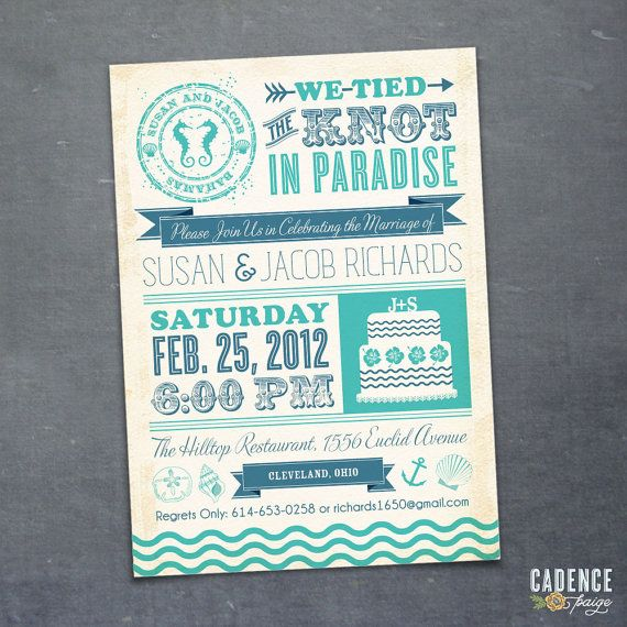 Destination Wedding Reception Invitation  by CadencePaige on Etsy, $18.50