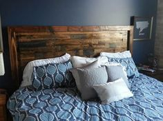 Rustic Platform Bed & Headboard by JamesAndJames on Etsy