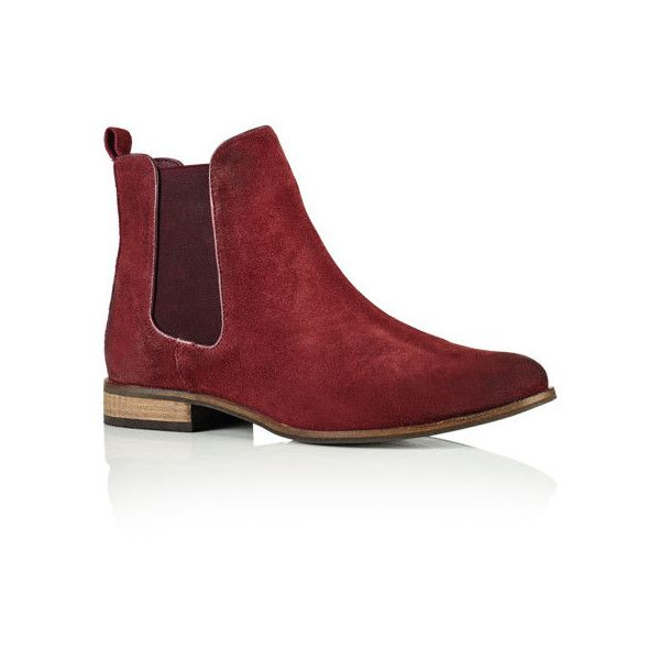 Superdry Millie Suede Chelsea Boots ($80) ❤ liked on Polyvore featuring shoes, boots, ankle booties, red, superdry boots, chelsea boots, elastic boots, suede beatle boots and red ankle booties
