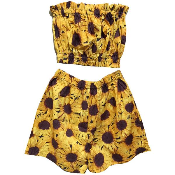 Sunflower Co-ord Two Piece Bandeau Top Shorts Beach Holiday Summer... (52 CAD) ❤ liked on Polyvore featuring floral bandeau top, bandeau bikini tops, floral bandeau bikini top, floral two piece and bandeau tops