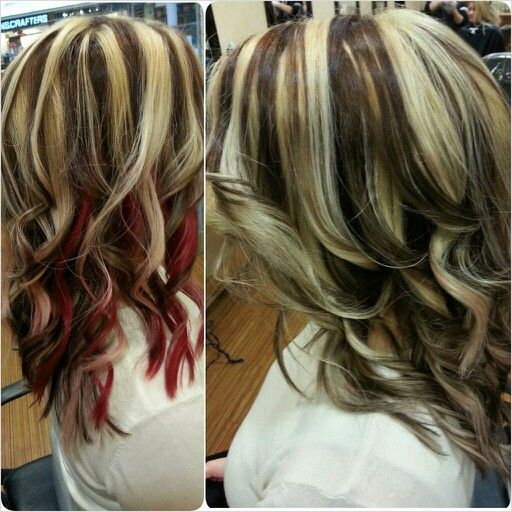 Pale Blonde With Dark Brown Lowlights And Red Accent Panel