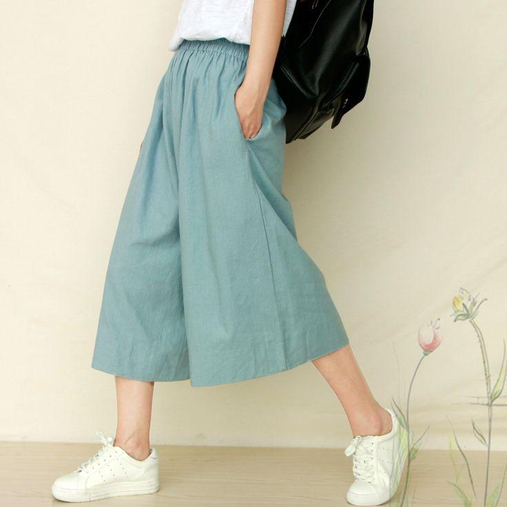 Купить товарРЕТРО искусство досуг хлопок широкую ногу брюки женские летние семь брюки свободные тонкие льняные прямые широкие брюки ноги юбка в категории  на AliExpress.  светло-голубой белый кожа порошок черныйталия & #65306; 2 фута-2 футов 8 бедра окружность & #65306;