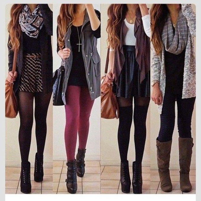 scarf high heels black dress bag cardigan grey shorts jewels tights skirt vest fall fashion burgundy lita fall fall outfits leather skater s...