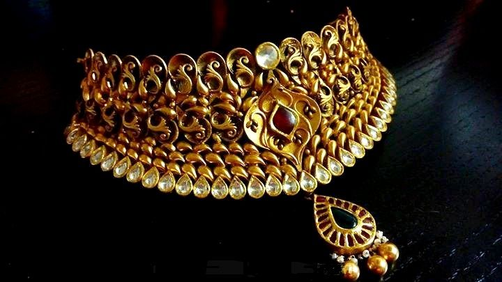 Grand gold antique Indian polki choker with the touch of rubies, emerald and pearls