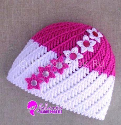 Шапочка с цветками | Вязание для девочек | Вязание спицами и крючком. Схемы вязания.