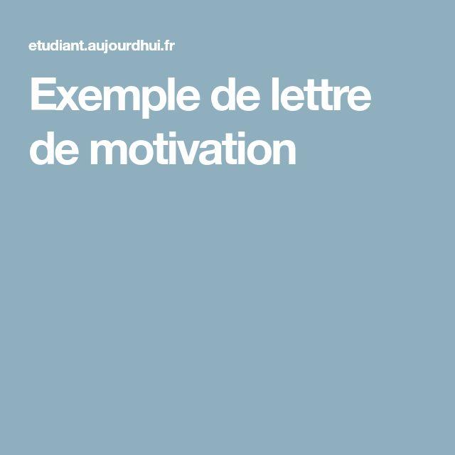 Exemple de lettre de motivation
