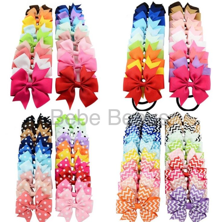 UK Baby Girl Ribbon Bow Clip Elastic Spotty Stripes Hair Accessories Christmas  | eBay